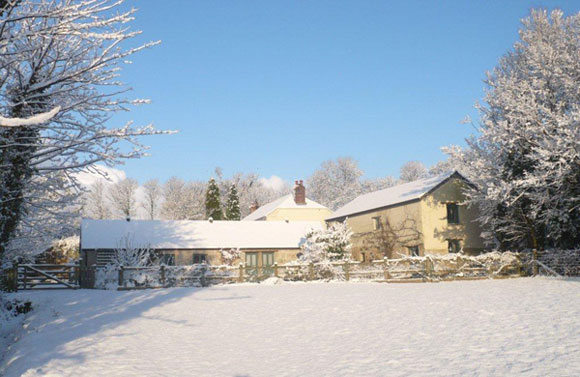 Snow at Nanjeath Farm Holiday Cottages in Cornwall